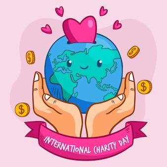 Dia internacional desenhado à mão do tema da caridade