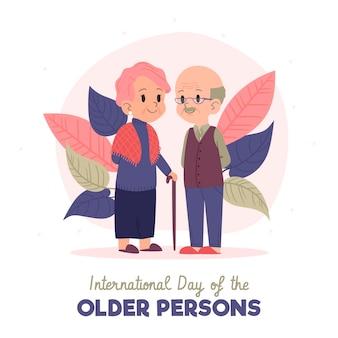 Dia internacional desenhado à mão dos idosos
