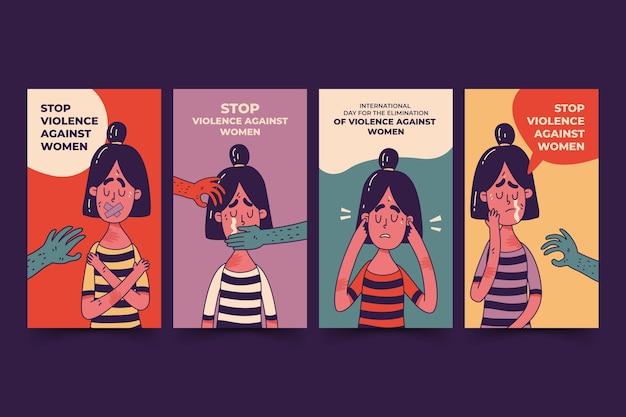 Dia internacional desenhado à mão para a eliminação da violência contra as mulheres, coleção de histórias do instagram