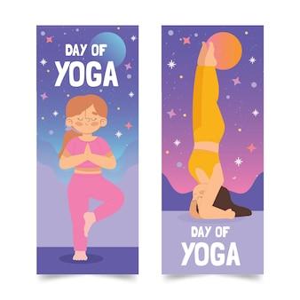 Dia internacional do banner de ioga