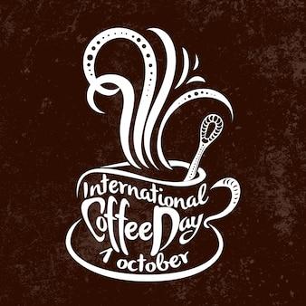 Dia internacional do café. 1 de outubro. escrevendo à mão.
