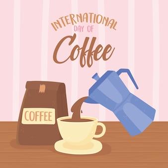 Dia internacional do café, chaleira servindo na xícara e produto embalado