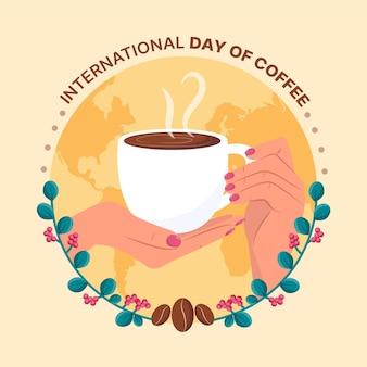 Dia internacional do café desenhado à mão design