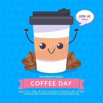 Dia internacional do café design plano