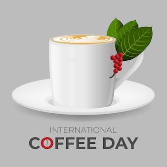 Dia internacional do café. ilustração em vetor de uma xícara de café.