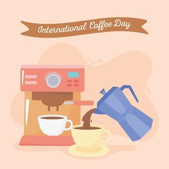 Dia internacional do café, xícara de máquina e chaleira servindo bebida