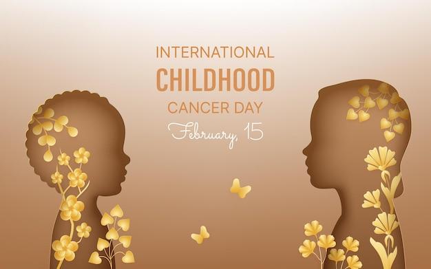 Dia internacional do câncer infantil, fevereiro. crianças de vista frontal, flores, ramos, borboletas. estilo de corte de papel com sombra.