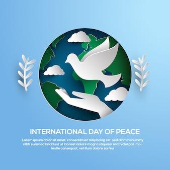 Dia internacional do cartão do papercut da paz