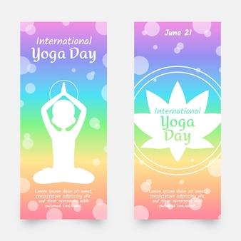 Dia internacional do conjunto de banners de ioga