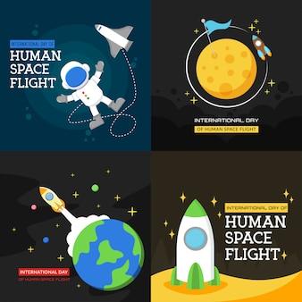 Dia internacional do design de cartaz de ilustração de vôo espacial humano