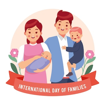 Dia internacional do design plano das famílias