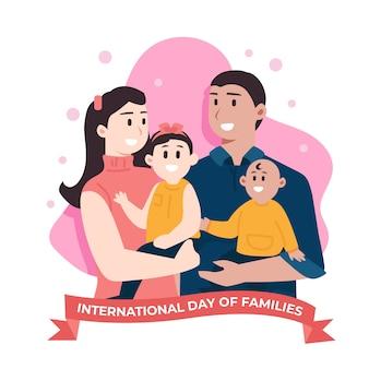 Dia internacional do design plano de ilustração de famílias