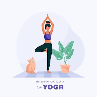 Dia internacional do design plano de ilustração de ioga