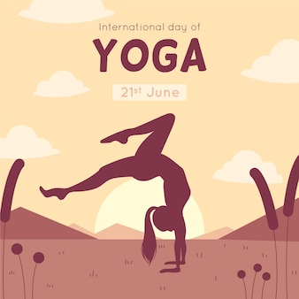 Dia internacional do design plano de yoga