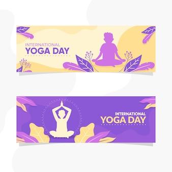 Dia internacional do design plano do banner de ioga