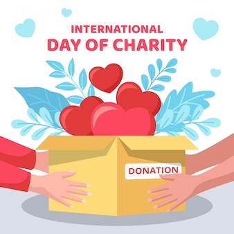 Dia internacional do design plano do conceito de caridade