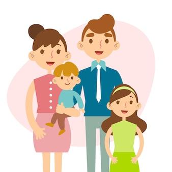 Dia internacional do design plano do conceito de famílias