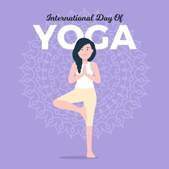 Dia internacional do design plano do conceito de ioga