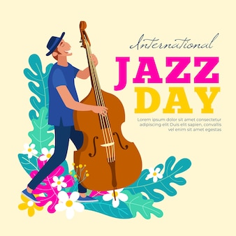 Dia internacional do jazz com homem tocando baixo