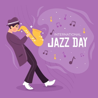 Dia internacional do jazz de design plano