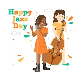 Dia internacional do jazz de mão desenhada estilo