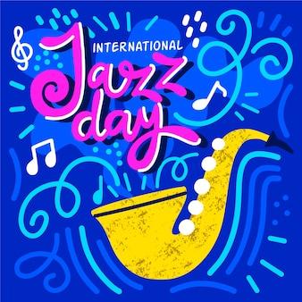 Dia internacional do jazz de mão desenhada