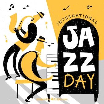Dia internacional do jazz desenhado a dedo