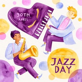 Dia internacional do jazz em aquarela e pessoas tocando