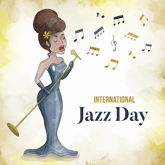 Dia internacional do jazz em aquarela