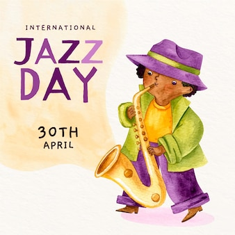 Dia internacional do jazz em aquarela
