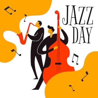Dia internacional do jazz mão desenhada