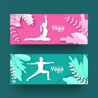 Dia internacional do modelo de banner de ioga