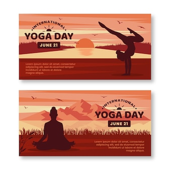 Dia internacional do modelo de banners de ioga