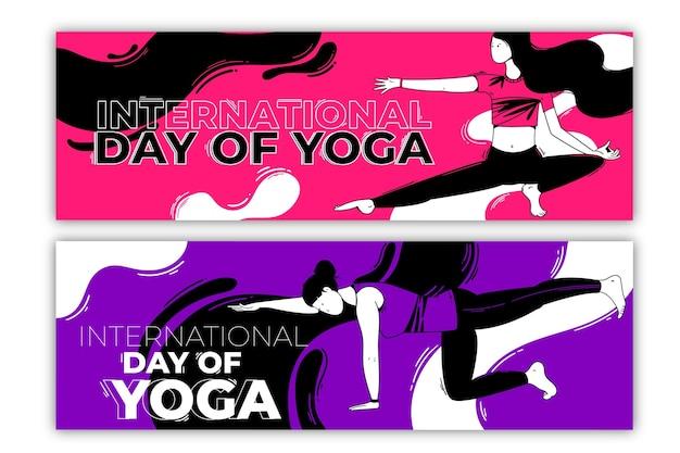 Dia internacional do tema de banner de ioga