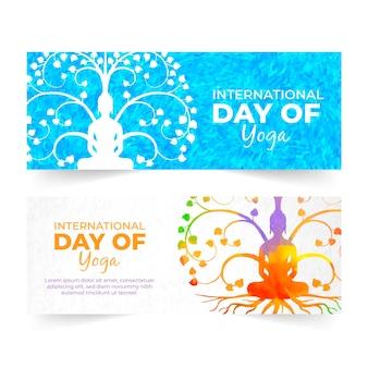 Dia internacional do tema de banners de ioga