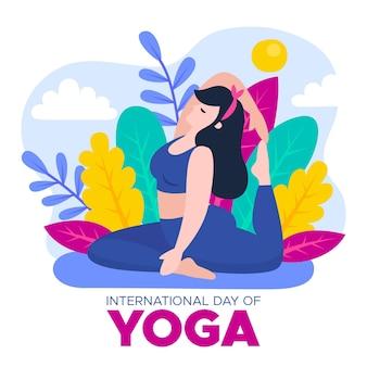 Dia internacional do tema ilustrado de ioga