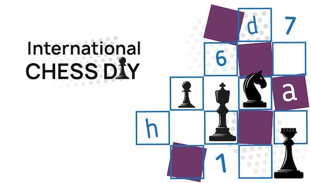 Dia internacional do xadrez com tabuleiro de xadrez com peças de xadrez, letras e números de desenho de pôster