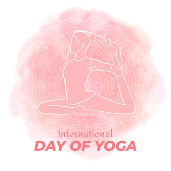 Dia internacional do yoga desenhado