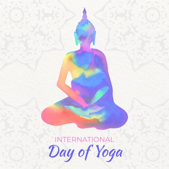 Dia internacional do yoga em aquarela
