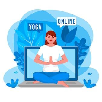 Dia internacional dos cursos online de equilíbrio corporal do yoga