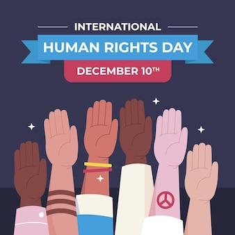 Dia internacional dos direitos humanos de design plano com as mãos