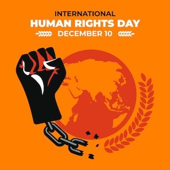 Dia internacional dos direitos humanos de design plano com punho