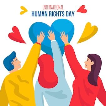 Dia internacional dos direitos humanos desenhado à mão ilustrado