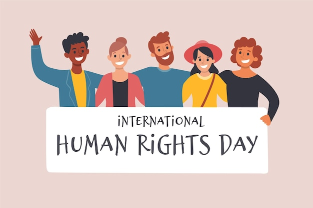 Dia internacional dos direitos humanos desenhado à mão