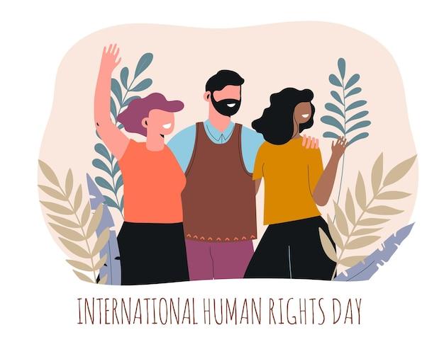 Dia internacional dos direitos humanos do flat design