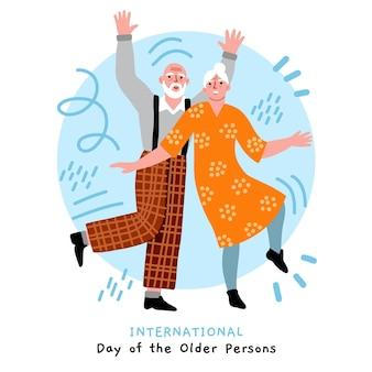 Dia internacional dos idosos desenhado à mão ilustrado