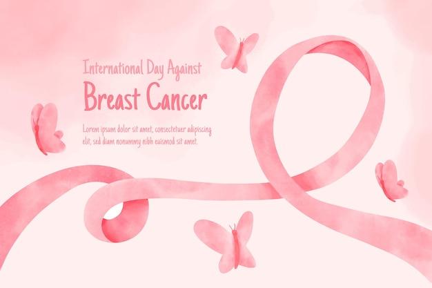 Dia internacional em aquarela contra o fundo do câncer de mama