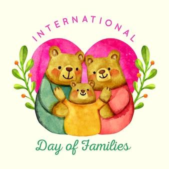 Dia internacional em aquarela das famílias