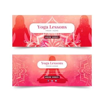 Dia internacional em aquarela de banners de ioga
