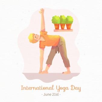 Dia internacional em aquarela de yoga com mulher